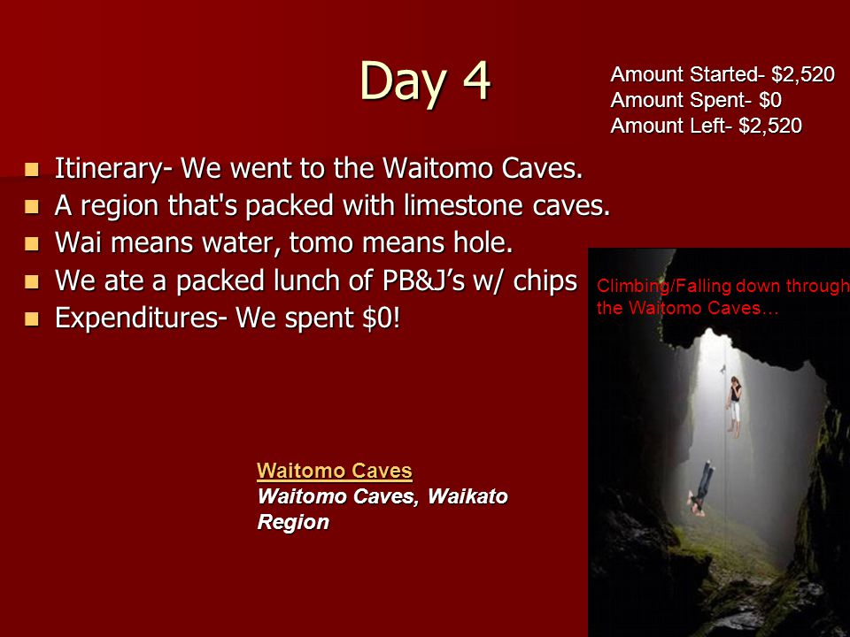 Day 4 Itinerary- We went to the Waitomo Caves.Itinerary- We went to the Waitomo Caves.