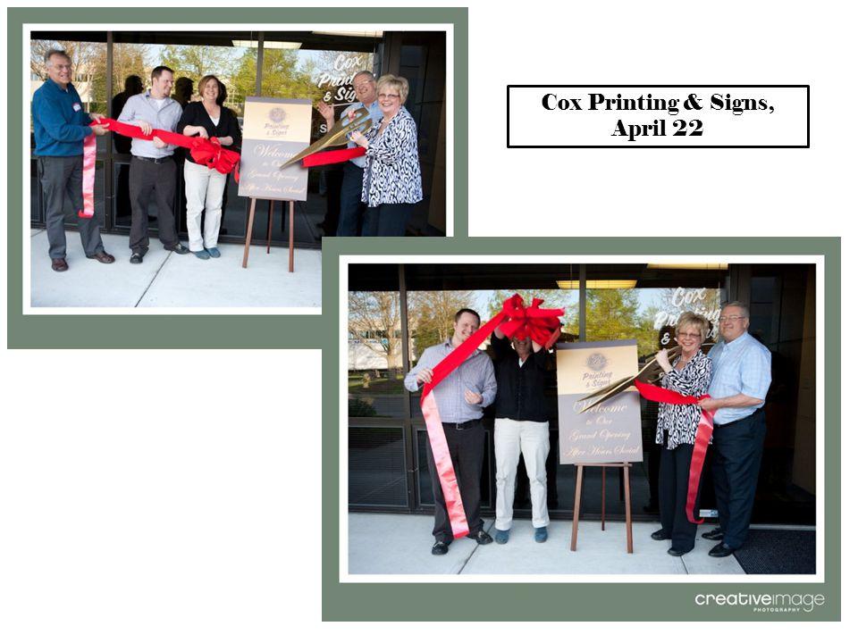 Cox Printing & Signs, April 22