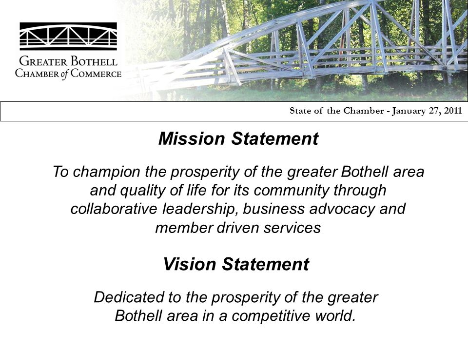 Mission Statement To champion the prosperity of the greater Bothell area and quality of life for its community through collaborative leadership, busin