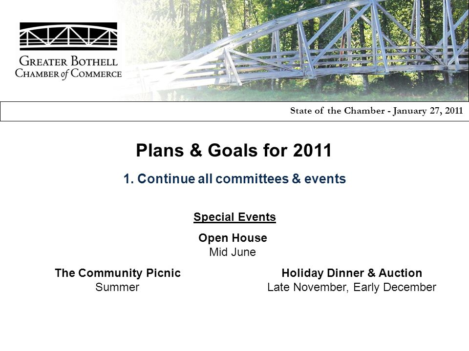 Special Events The Community Picnic Summer State of the Chamber - January 27, 2011 Holiday Dinner & Auction Late November, Early December Open House Mid June Plans & Goals for 2011 1.