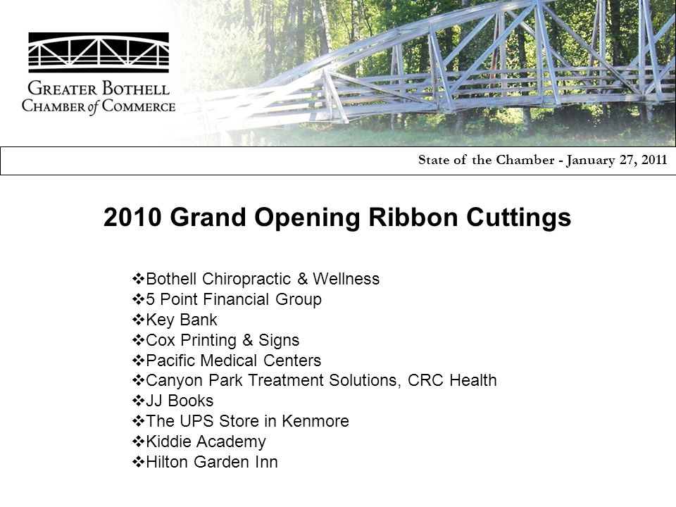  Bothell Chiropractic & Wellness  5 Point Financial Group  Key Bank  Cox Printing & Signs  Pacific Medical Centers  Canyon Park Treatment Soluti