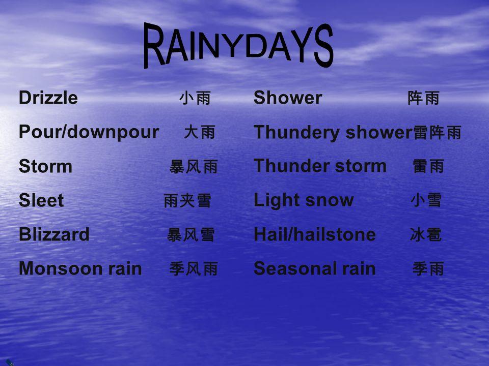 Drizzle 小雨 Pour/downpour 大雨 Storm 暴风雨 Sleet 雨夹雪 Blizzard 暴风雪 Monsoon rain 季风雨 Shower 阵雨 Thundery shower 雷阵雨 Thunder storm 雷雨 Light snow 小雪 Hail/hailstone 冰雹 Seasonal rain 季雨