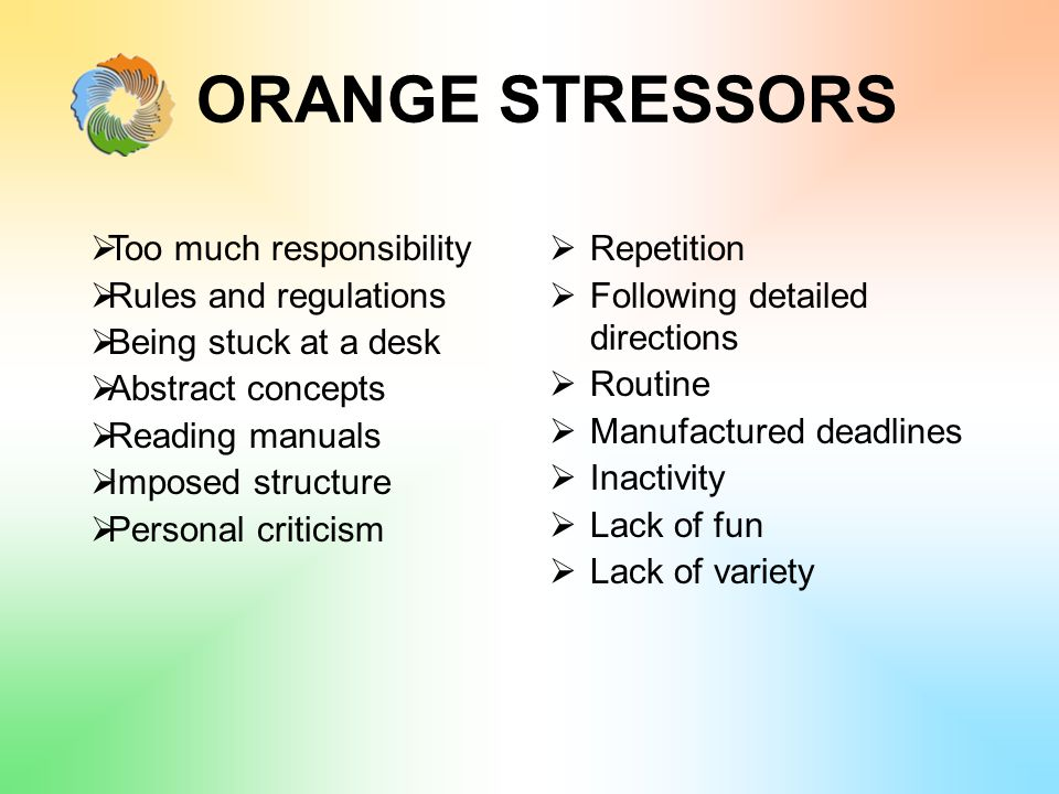 ORANGE STRESSORS  Too much responsibility  Rules and regulations  Being stuck at a desk  Abstract concepts  Reading manuals  Imposed structure  Personal criticism  Repetition  Following detailed directions  Routine  Manufactured deadlines  Inactivity  Lack of fun  Lack of variety