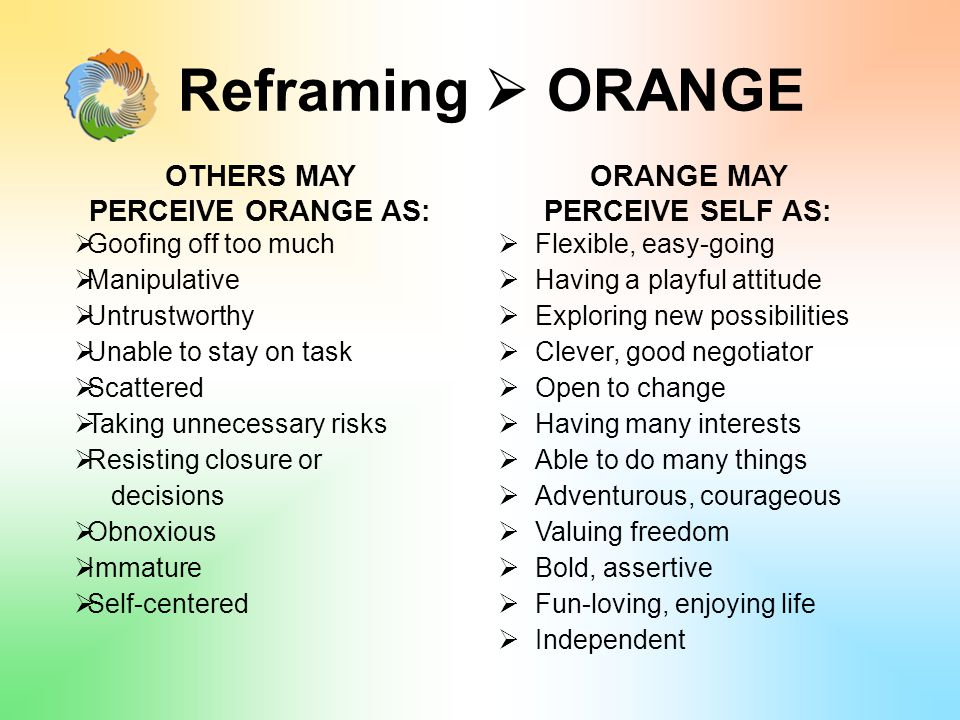 Reframing  ORANGE OTHERS MAY PERCEIVE ORANGE AS:  Goofing off too much  Manipulative  Untrustworthy  Unable to stay on task  Scattered  Taking unnecessary risks  Resisting closure or decisions  Obnoxious  Immature  Self-centered ORANGE MAY PERCEIVE SELF AS:  Flexible, easy-going  Having a playful attitude  Exploring new possibilities  Clever, good negotiator  Open to change  Having many interests  Able to do many things  Adventurous, courageous  Valuing freedom  Bold, assertive  Fun-loving, enjoying life  Independent