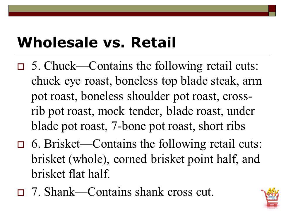 Wholesale vs. Retail  5. Chuck—Contains the following retail cuts: chuck eye roast, boneless top blade steak, arm pot roast, boneless shoulder pot ro