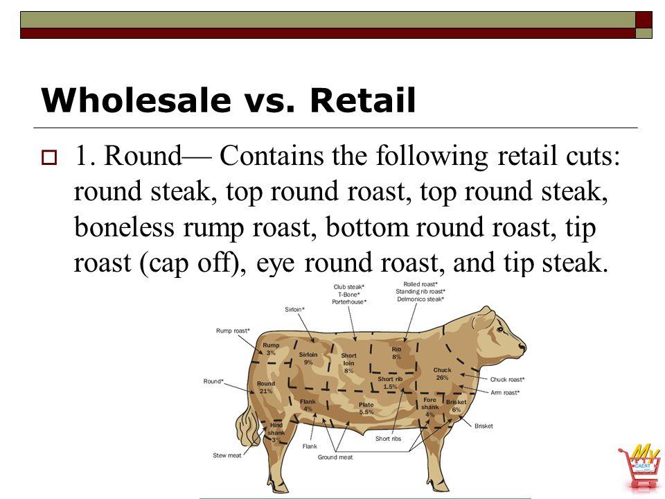 Wholesale vs. Retail  1. Round— Contains the following retail cuts: round steak, top round roast, top round steak, boneless rump roast, bottom round