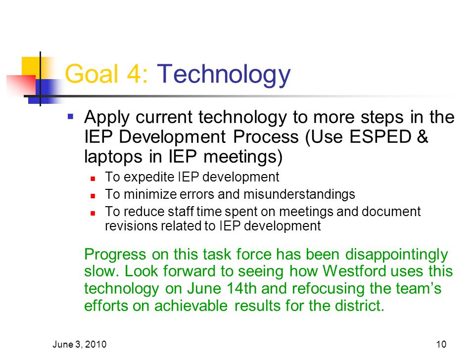June 3, 201010 Goal 4: Technology  Apply current technology to more steps in the IEP Development Process (Use ESPED & laptops in IEP meetings) To exp