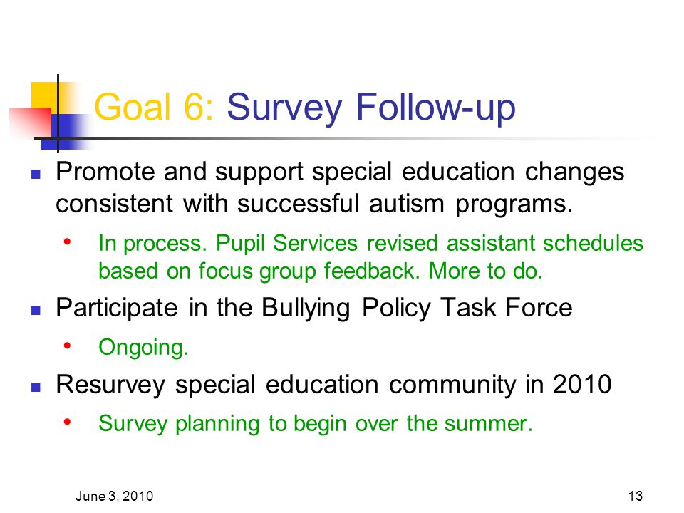June 3, 201013 Goal 6: Survey Follow-up Promote and support special education changes consistent with successful autism programs. In process. Pupil Se