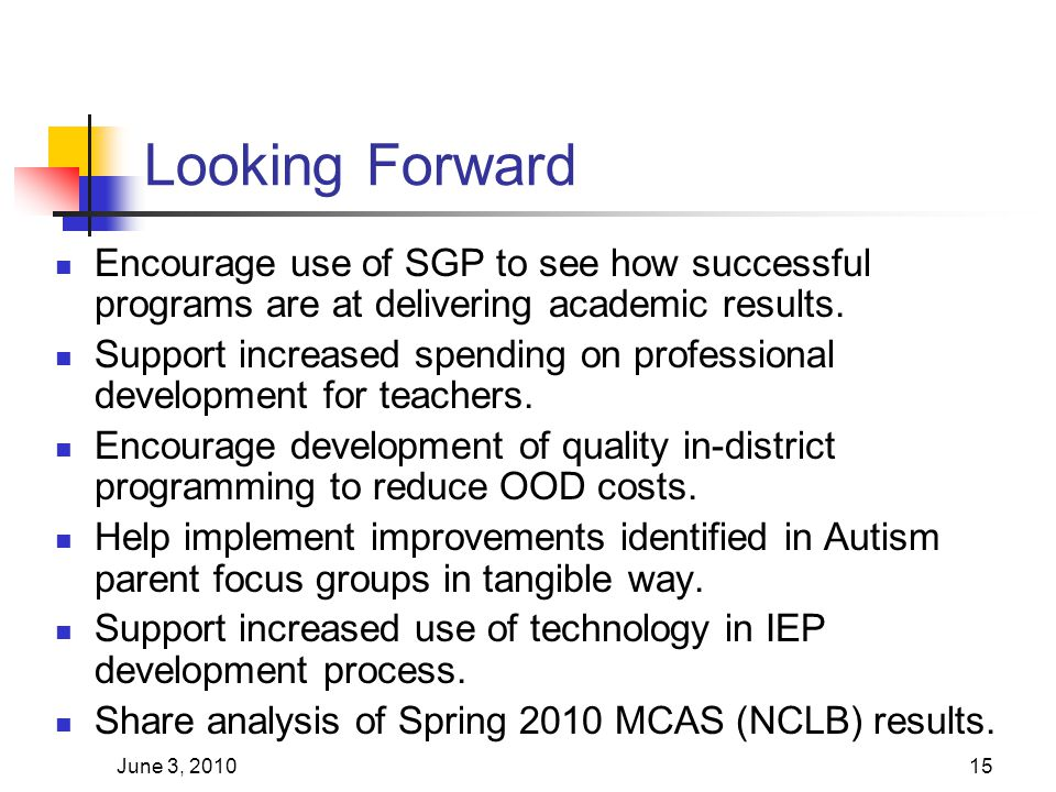 June 3, 201015 Looking Forward Encourage use of SGP to see how successful programs are at delivering academic results. Support increased spending on p