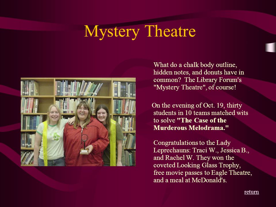 Mystery Theatre What do a chalk body outline, hidden notes, and donuts have in common? The Library Forum's