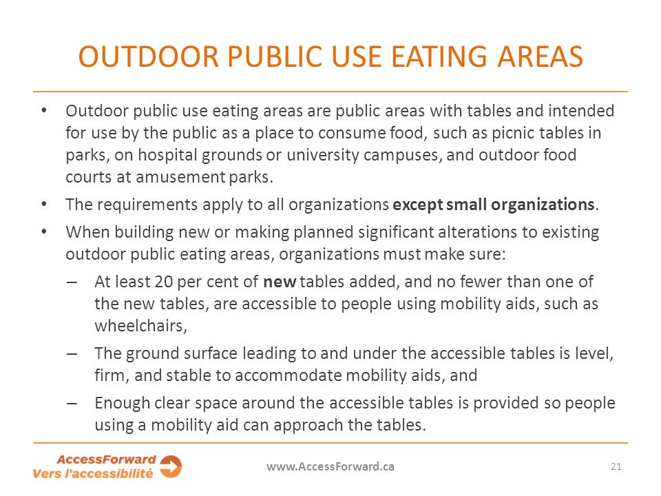 OUTDOOR PUBLIC USE EATING AREAS Outdoor public use eating areas are public areas with tables and intended for use by the public as a place to consume food, such as picnic tables in parks, on hospital grounds or university campuses, and outdoor food courts at amusement parks.