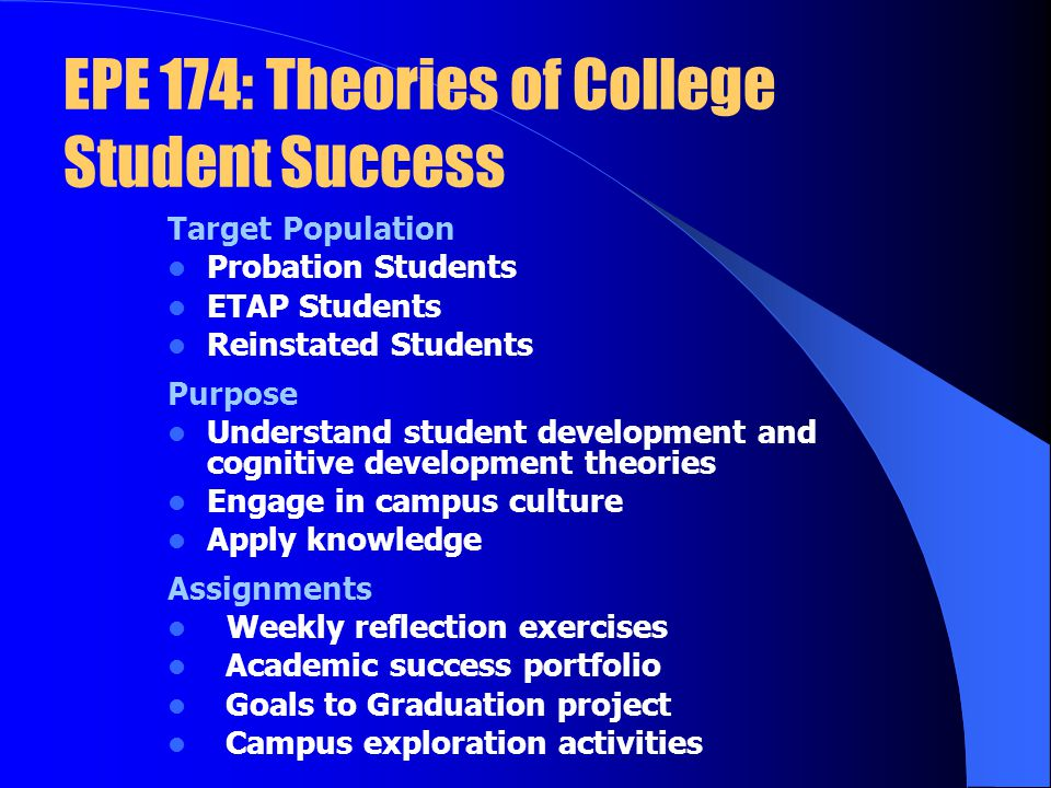 EPE 174: Theories of College Student Success Target Population Probation Students ETAP Students Reinstated Students Purpose Understand student development and cognitive development theories Engage in campus culture Apply knowledge Assignments Weekly reflection exercises Academic success portfolio Goals to Graduation project Campus exploration activities