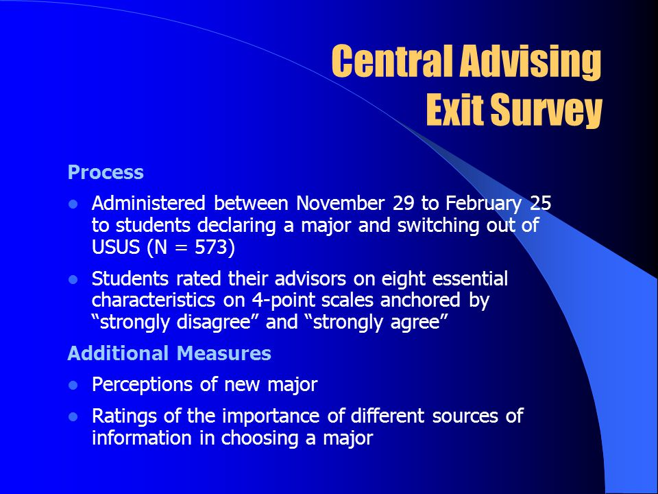 Central Advising Exit Survey Process Administered between November 29 to February 25 to students declaring a major and switching out of USUS (N = 573) Students rated their advisors on eight essential characteristics on 4-point scales anchored by strongly disagree and strongly agree Additional Measures Perceptions of new major Ratings of the importance of different sources of information in choosing a major