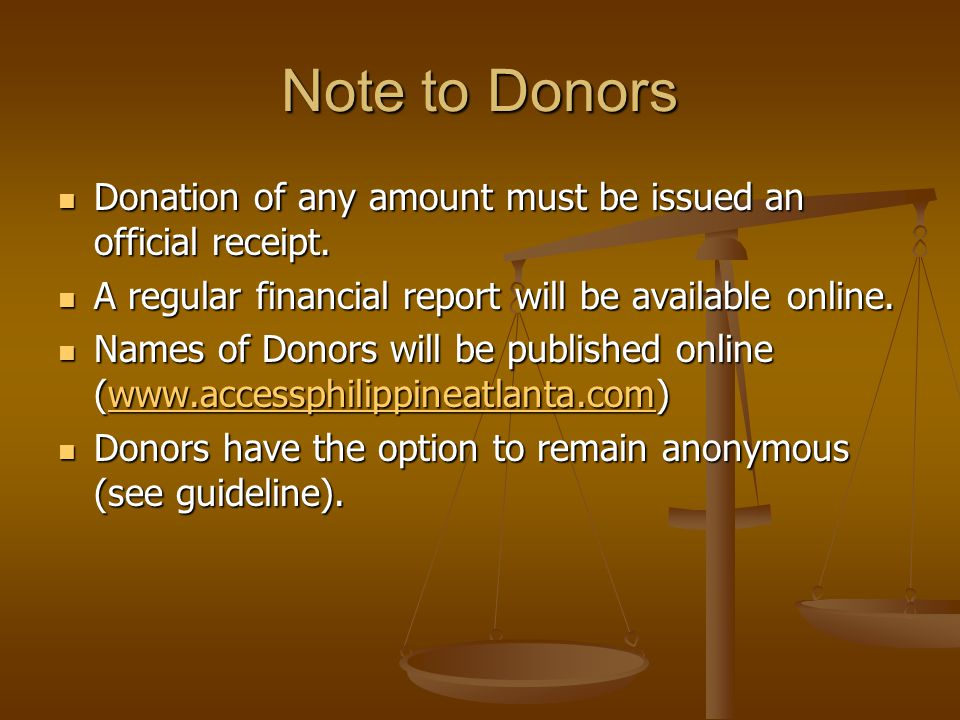 Note to Donors Donation of any amount must be issued an official receipt.