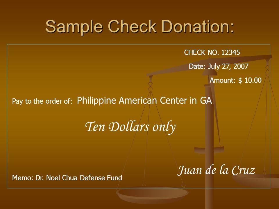 Sample: Donation receipt Date Date Receipt No.Receipt No.