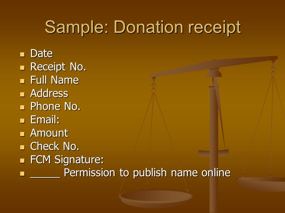 Sample: Donation receipt Date Date Receipt No. Receipt No.