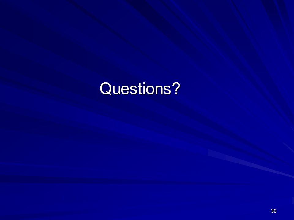 30 Questions Questions