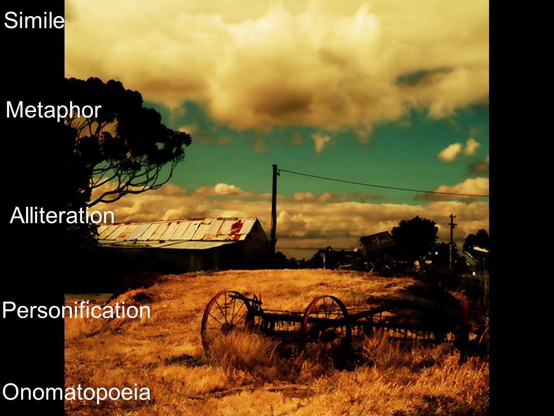 Simile Metaphor Personification Alliteration Onomatopoeia