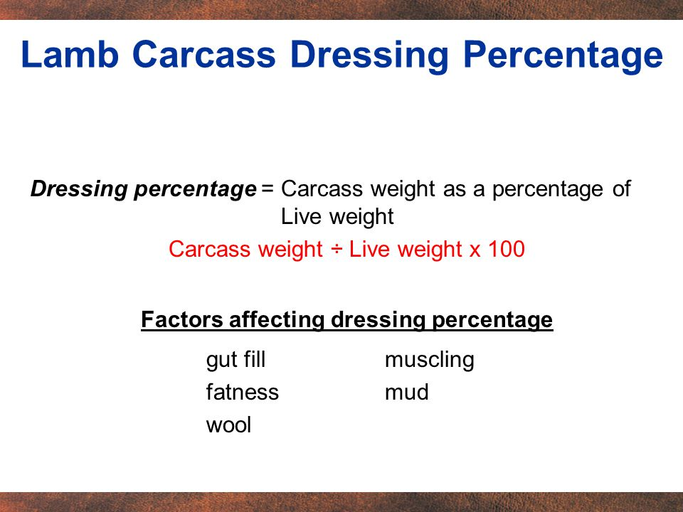 Dressing percentage = Carcass weight as a percentage of Live weight Carcass weight ÷ Live weight x 100 Factors affecting dressing percentage gut fillmuscling fatnessmud wool Lamb Carcass Dressing Percentage