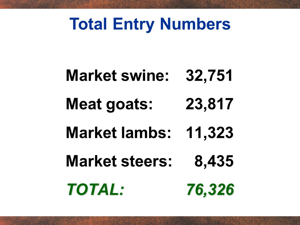 Market swine:32,751 Meat goats:23,817 Market lambs:11,323 Market steers: 8,435 TOTAL:76,326 Total Entry Numbers