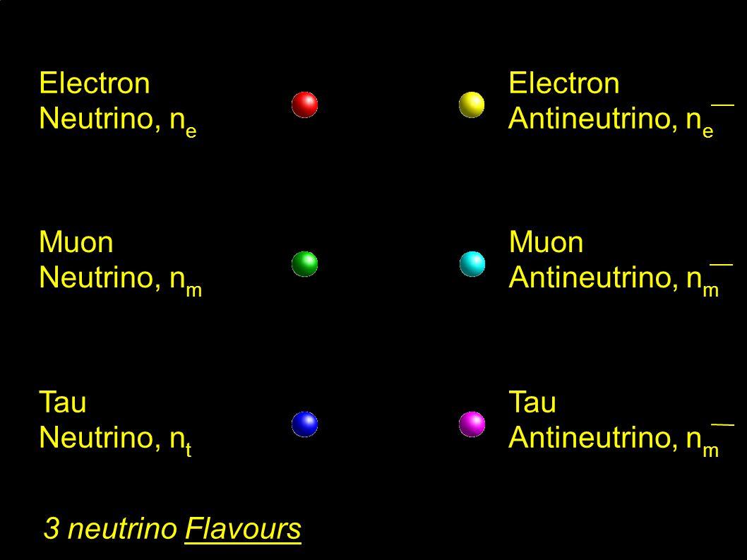 Electron Neutrino, n e Muon Neutrino, n m Tau Neutrino, n t 3 neutrino Flavours Electron Antineutrino, n e Muon Antineutrino, n m Tau Antineutrino, n m