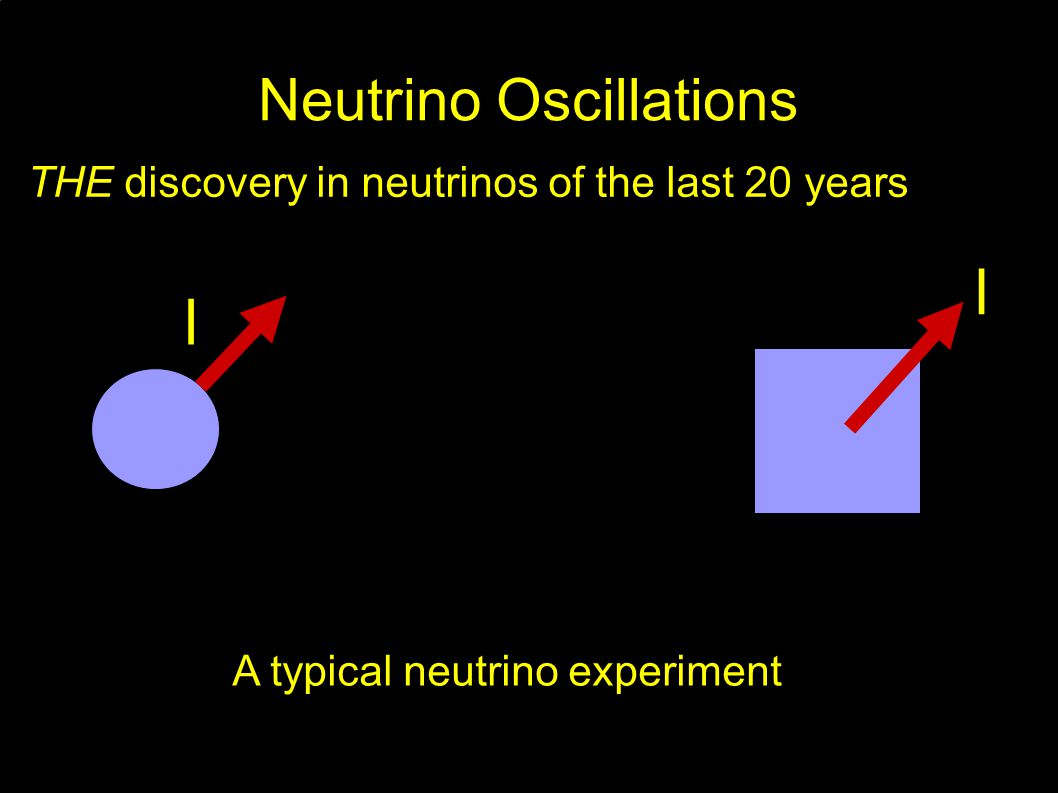 Neutrino Oscillations THE discovery in neutrinos of the last 20 years l l A typical neutrino experiment