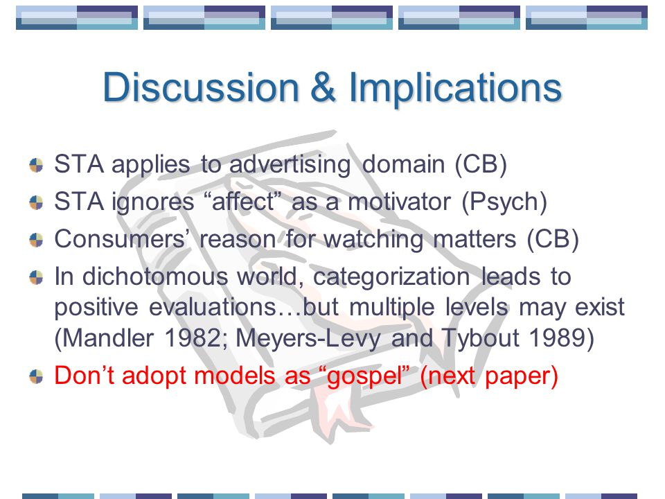 Discussion & Implications STA applies to advertising domain (CB) STA ignores affect as a motivator (Psych) Consumers' reason for watching matters (CB) In dichotomous world, categorization leads to positive evaluations…but multiple levels may exist (Mandler 1982; Meyers-Levy and Tybout 1989) Don't adopt models as gospel (next paper)