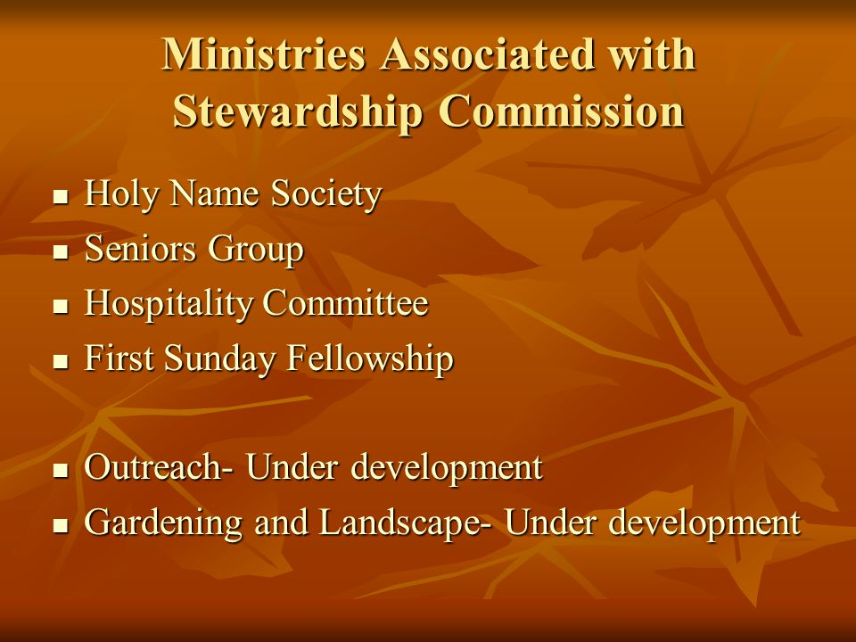 Ministries Associated with Stewardship Commission Holy Name Society Holy Name Society Seniors Group Seniors Group Hospitality Committee Hospitality Committee First Sunday Fellowship First Sunday Fellowship Outreach- Under development Outreach- Under development Gardening and Landscape- Under development Gardening and Landscape- Under development