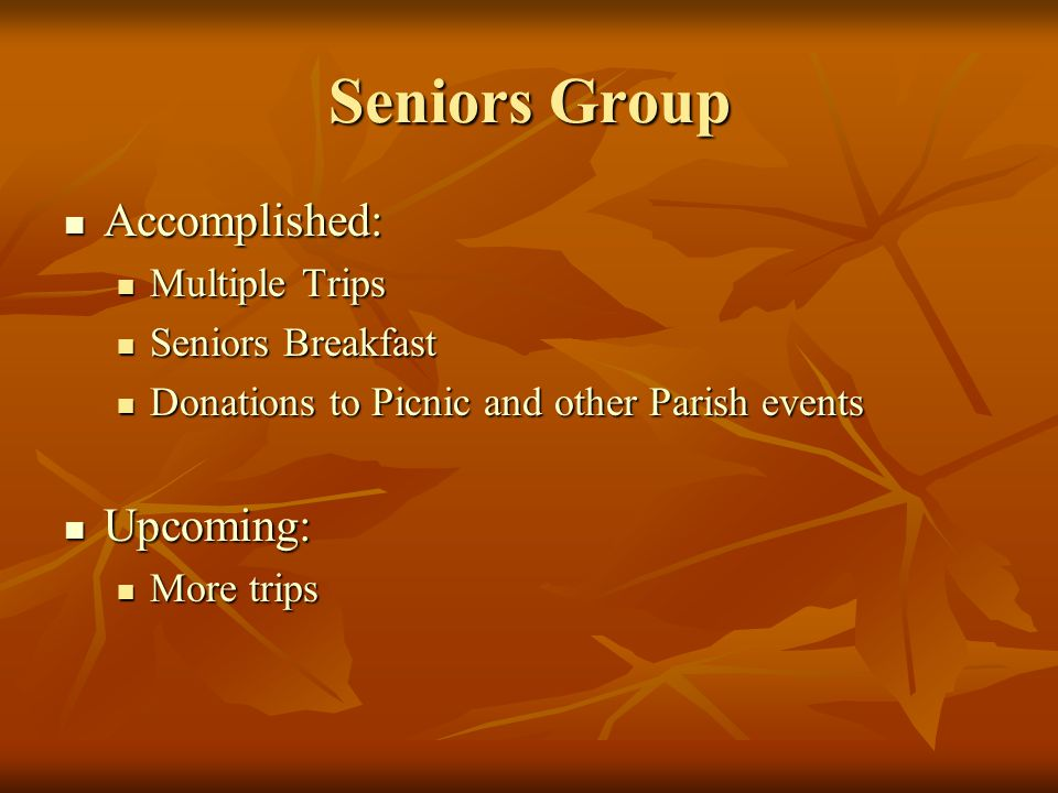 Seniors Group Accomplished: Accomplished: Multiple Trips Multiple Trips Seniors Breakfast Seniors Breakfast Donations to Picnic and other Parish events Donations to Picnic and other Parish events Upcoming: Upcoming: More trips More trips