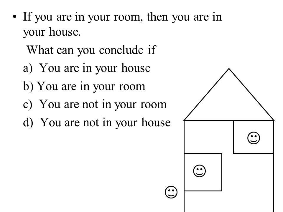 If you are in your room, then you are in your house.