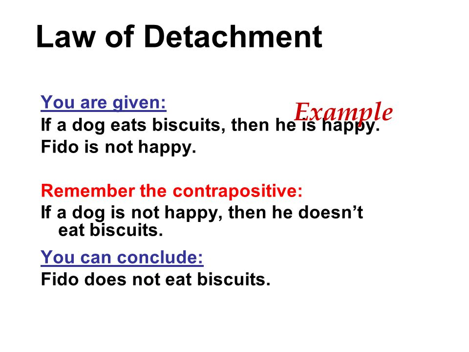 Law of Detachment You are given: If a dog eats biscuits, then he is happy. Fido is not happy. Remember the contrapositive: If a dog is not happy, then