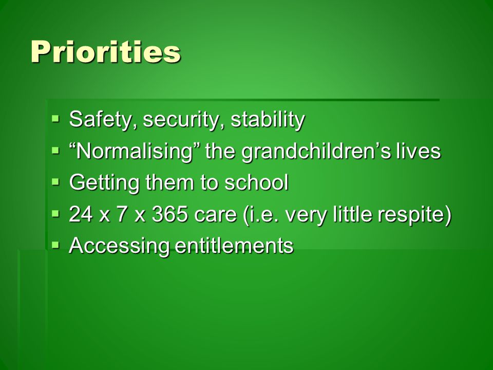 Priorities  Safety, security, stability  Normalising the grandchildren's lives  Getting them to school  24 x 7 x 365 care (i.e.