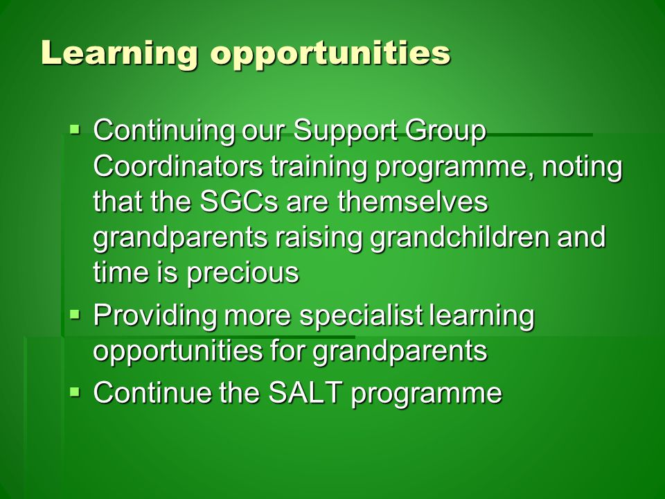Learning opportunities  Continuing our Support Group Coordinators training programme, noting that the SGCs are themselves grandparents raising grandchildren and time is precious  Providing more specialist learning opportunities for grandparents  Continue the SALT programme