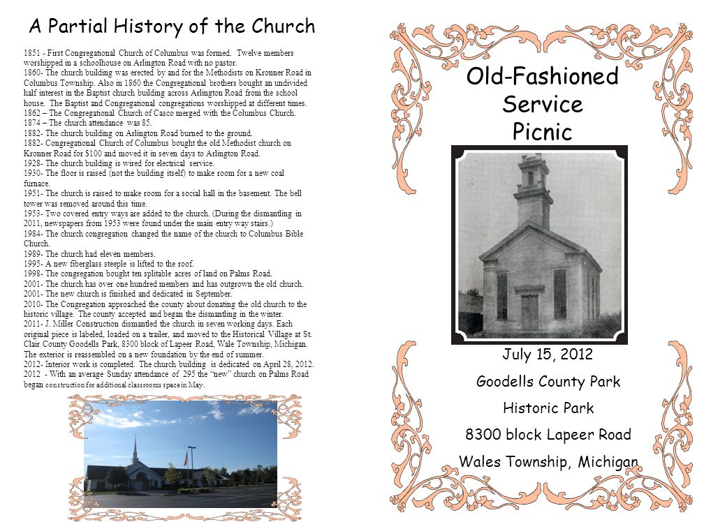 A Partial History of the Church 1851 - First Congregational Church of Columbus was formed.