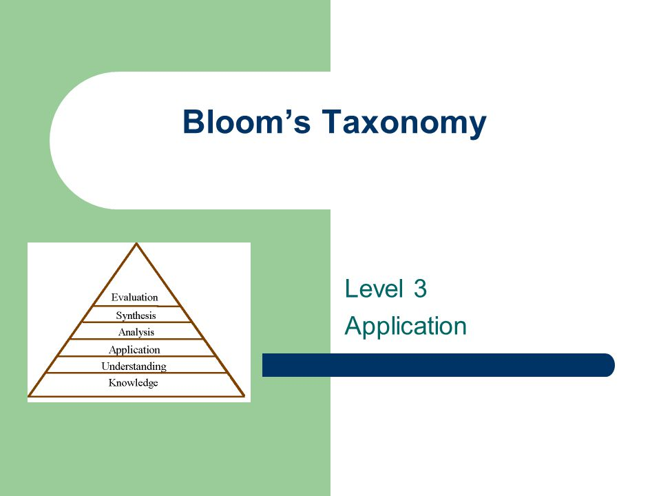 Bloom's Taxonomy Level 3 Application
