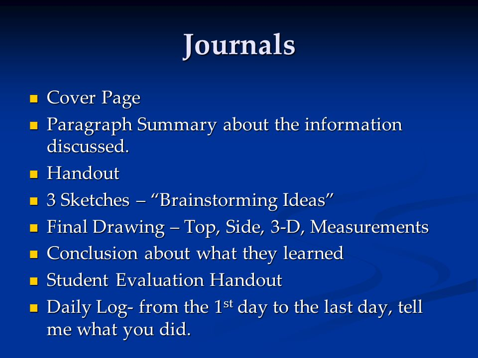 Journals Cover Page Cover Page Paragraph Summary about the information discussed. Paragraph Summary about the information discussed. Handout Handout 3