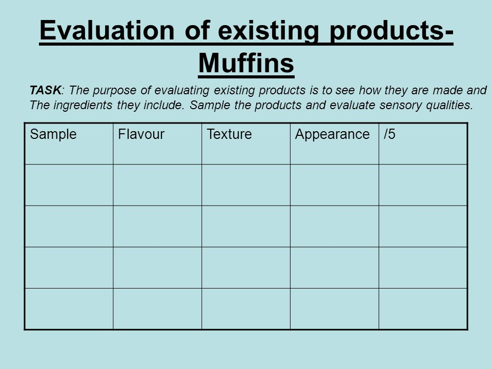 Evaluation of existing products- Muffins SampleFlavourTextureAppearance/5 TASK: The purpose of evaluating existing products is to see how they are mad