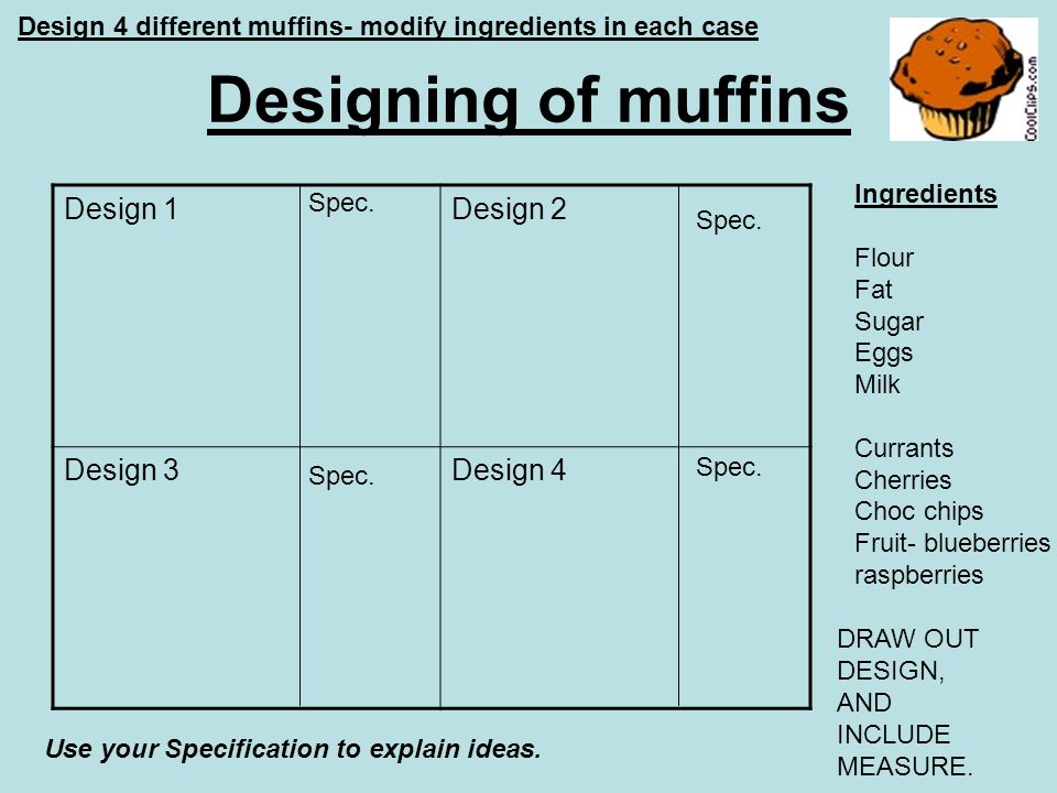 Designing of muffins Design 1Design 2 Design 3Design 4 Design 4 different muffins- modify ingredients in each case Ingredients Flour Fat Sugar Eggs Mi