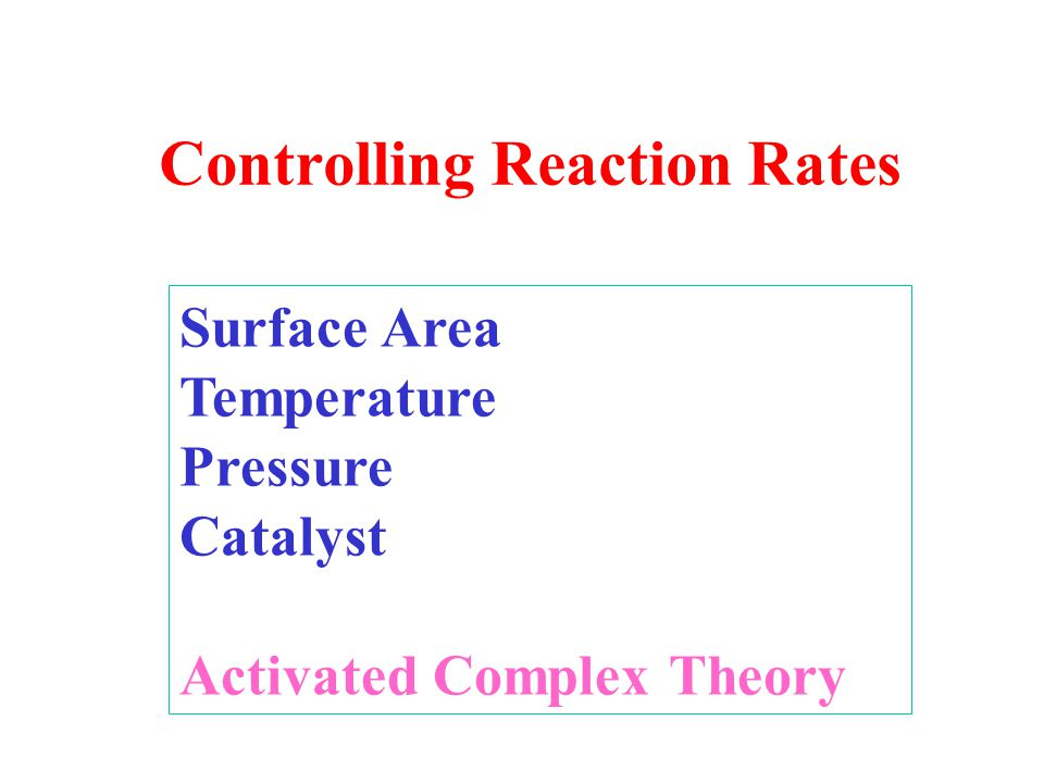 Controlling Reaction Rates Surface Area Temperature Pressure Catalyst Activated Complex Theory