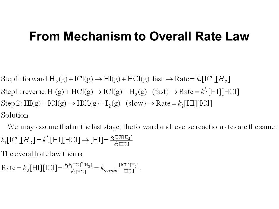 From Mechanism to Overall Rate Law