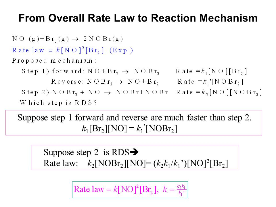 From Overall Rate Law to Reaction Mechanism Suppose step 1 forward and reverse are much faster than step 2. k 1 [Br 2 ][NO] = k 1 ' [NOBr 2 ] Suppose