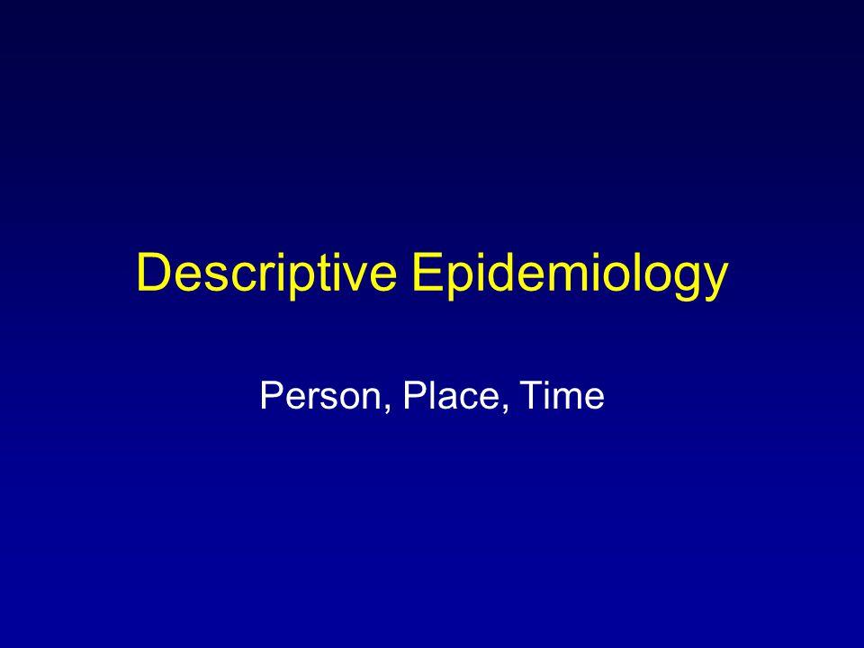 Descriptive Epidemiology Person, Place, Time