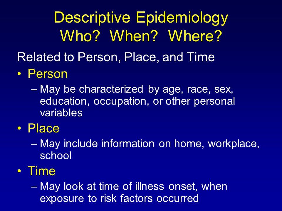 Descriptive Epidemiology Who. When. Where.