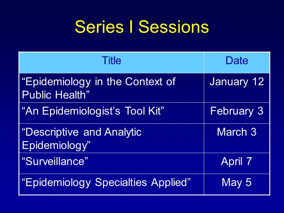 Series I Sessions TitleDate Epidemiology in the Context of Public Health January 12 An Epidemiologist's Tool Kit February 3 Descriptive and Analytic Epidemiology March 3 Surveillance April 7 Epidemiology Specialties Applied May 5