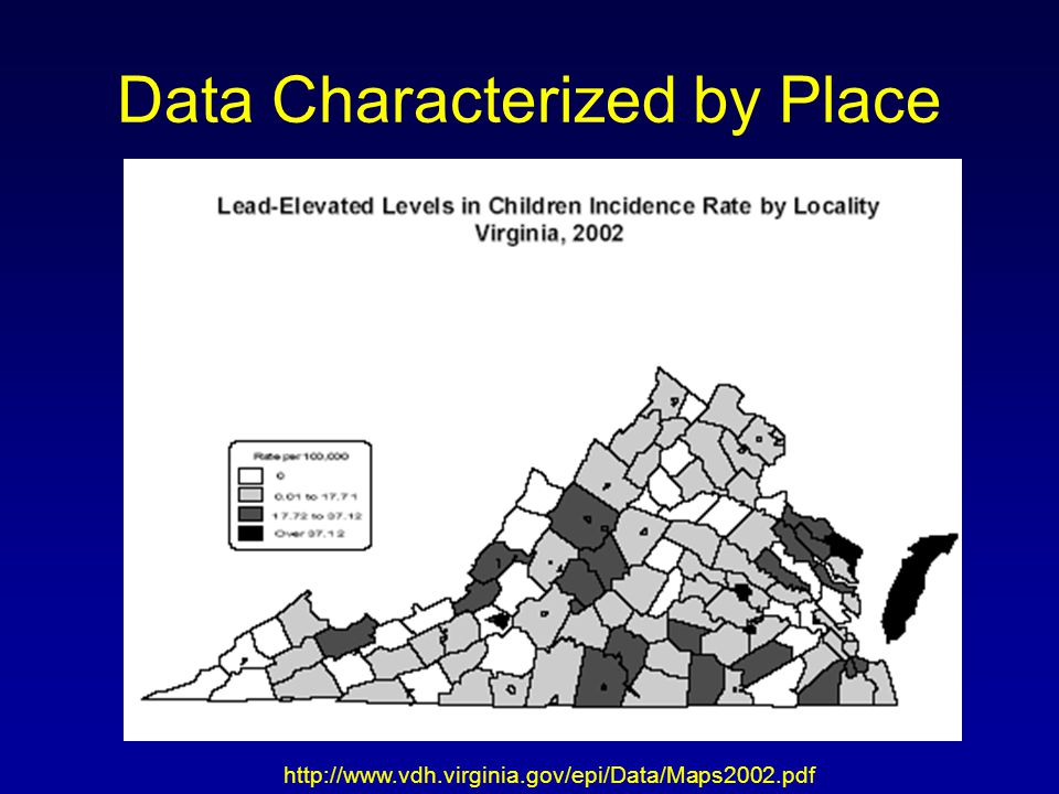Data Characterized by Place http://www.vdh.virginia.gov/epi/Data/Maps2002.pdf