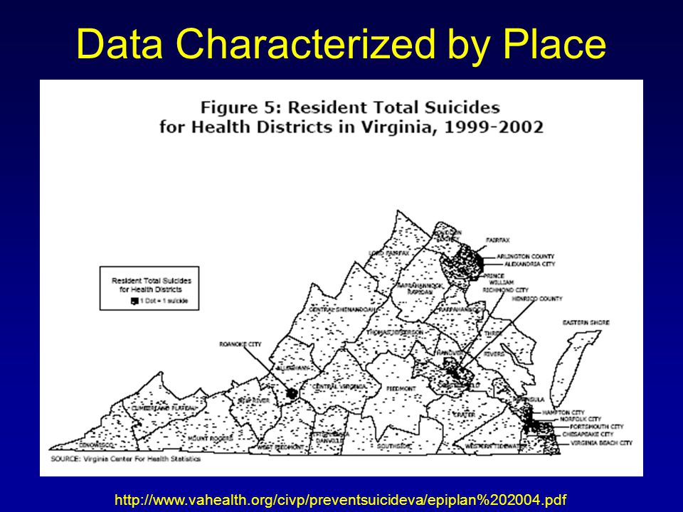 Data Characterized by Place http://www.vahealth.org/civp/preventsuicideva/epiplan%202004.pdf