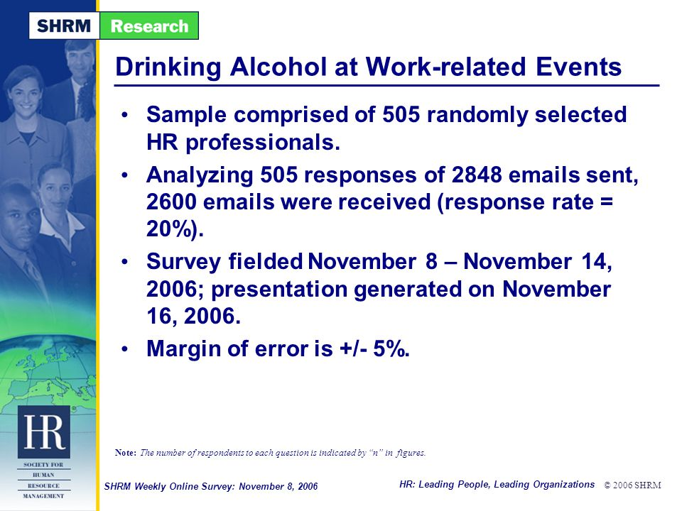 HR: Leading People, Leading Organizations © 2006 SHRM SHRM Weekly Online Survey: November 8, 2006 Drinking Alcohol at Work-related Events Sample comprised of 505 randomly selected HR professionals.