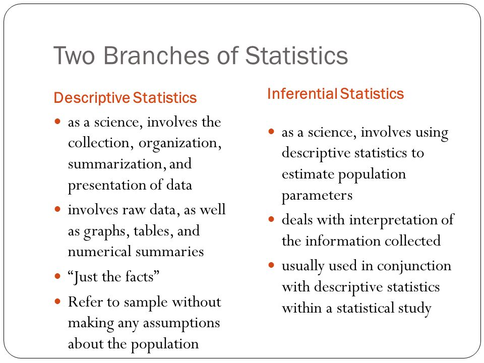 Two Branches of Statistics Descriptive Statistics Inferential Statistics as a science, involves the collection, organization, summarization, and prese