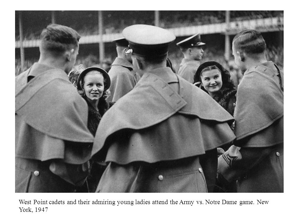 West Point cadets and their admiring young ladies attend the Army vs.