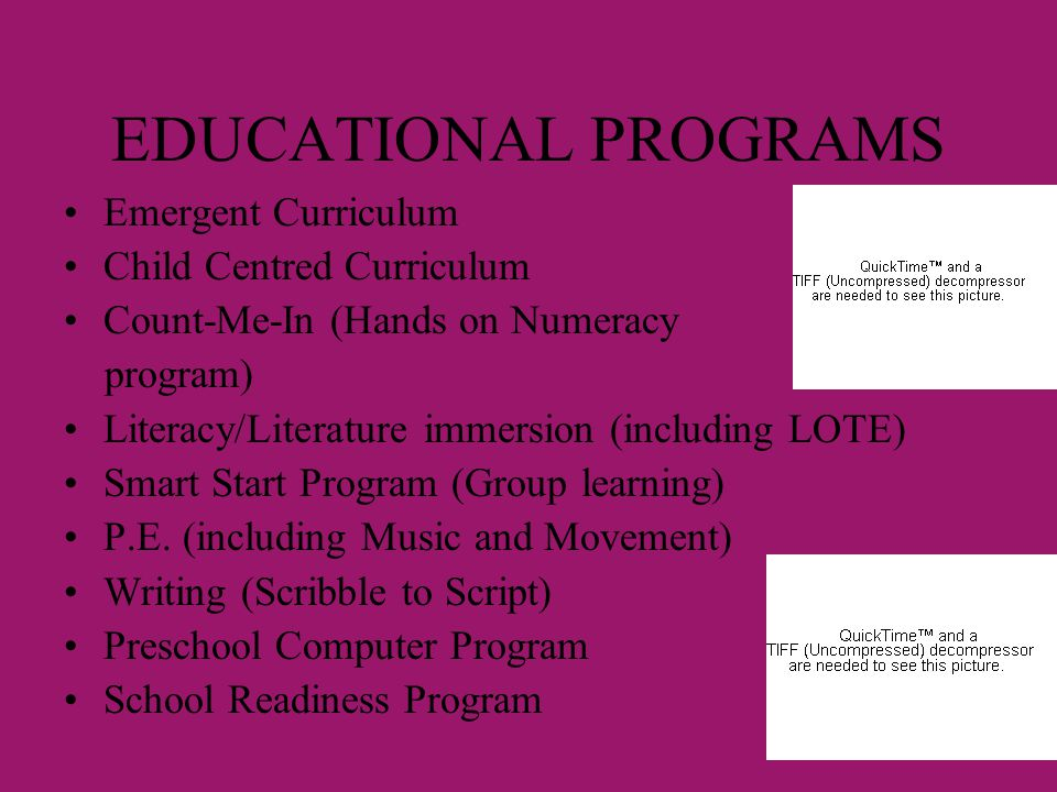 EDUCATIONAL PROGRAMS Emergent Curriculum Child Centred Curriculum Count-Me-In (Hands on Numeracy program) Literacy/Literature immersion (including LOT